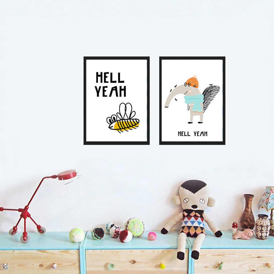 Nordic принты картина дома стены книги по искусству модульная плакат черный и белый простой C Ун пчела картина мыши на холсте Декор в гостиную