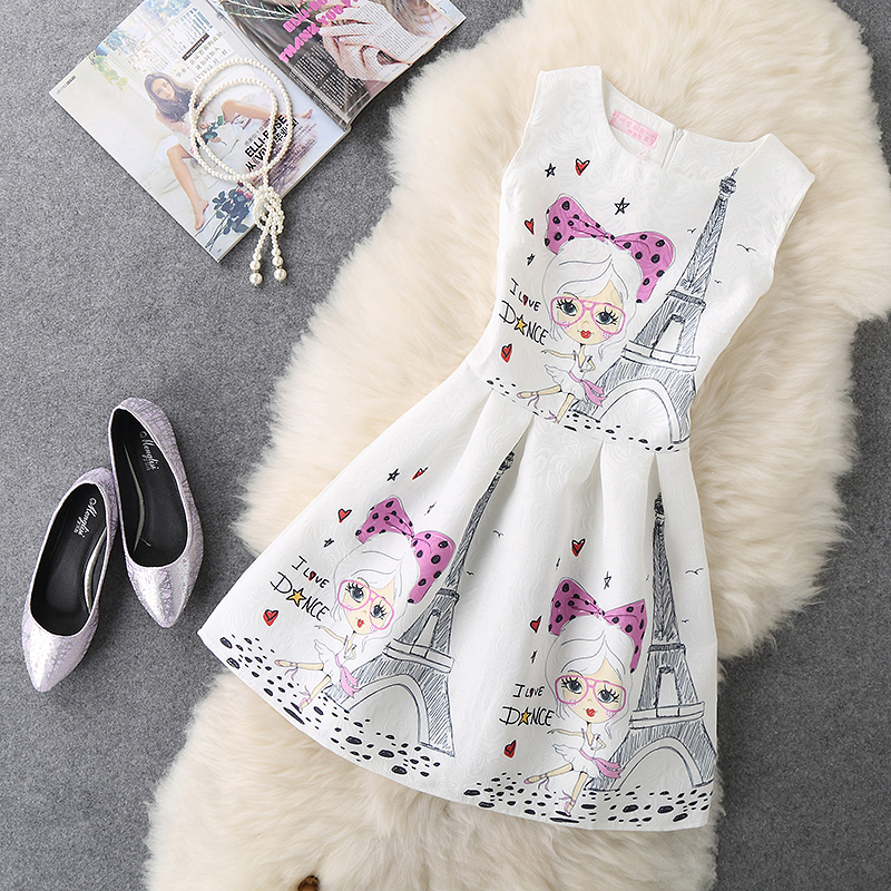 2017 New Womens Women Fashion Summer Dress Lady Sexy Party Office Sleeveless Vintage Print A Line Vest Dresses Clothing Clothes