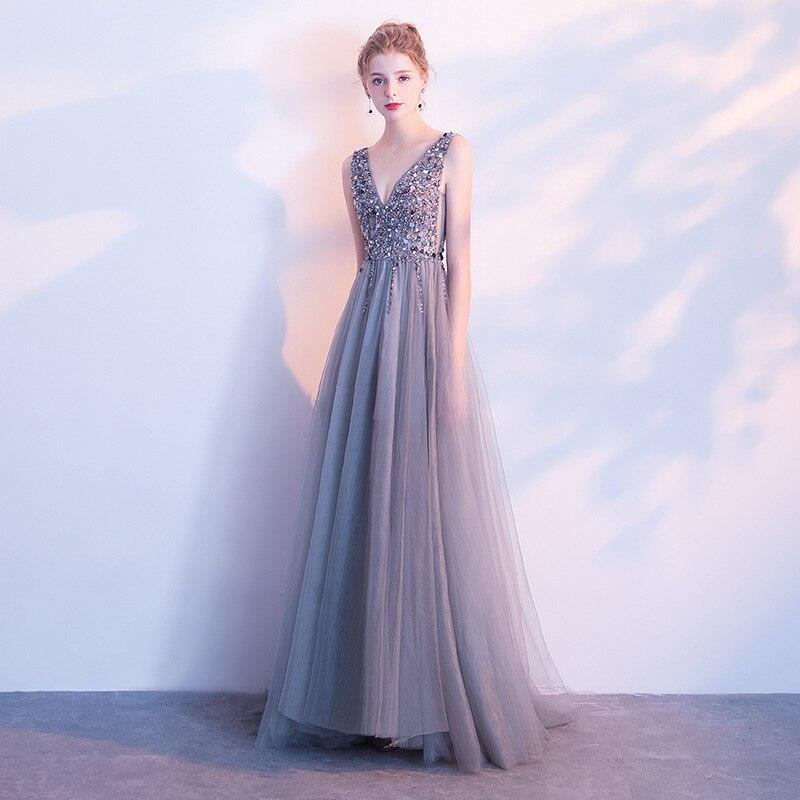 New Style Sequins Grey A-lineBeading Bridemaid Dresses Long Formal Prom Party Reflective Dresses robe de soiree vestido de noiva