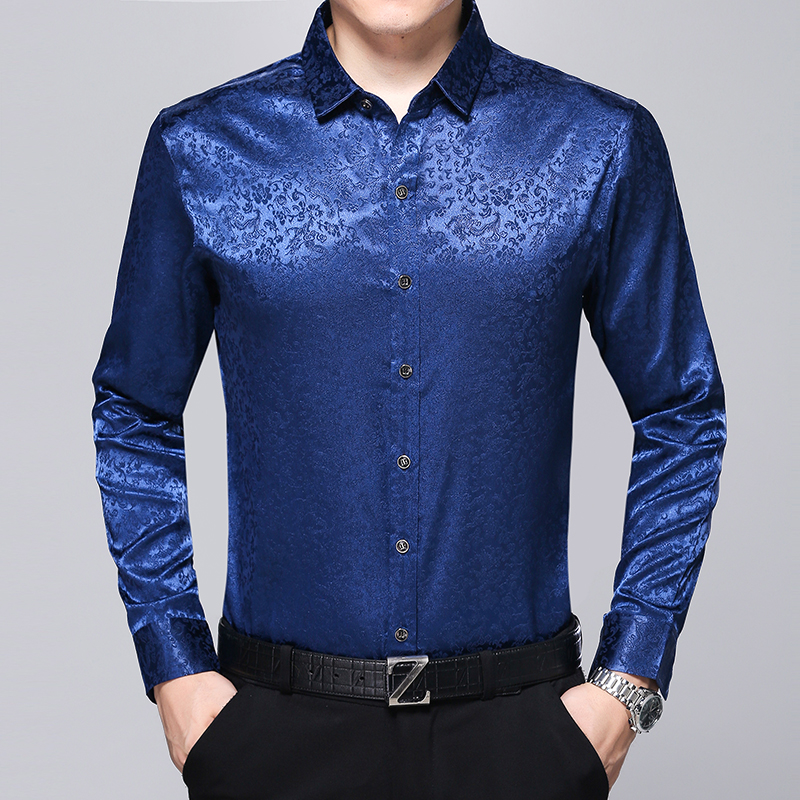 New arrival male satin silk shirt mens fashion floral dress shirt long sleeve gentleman silk shirt free shipping