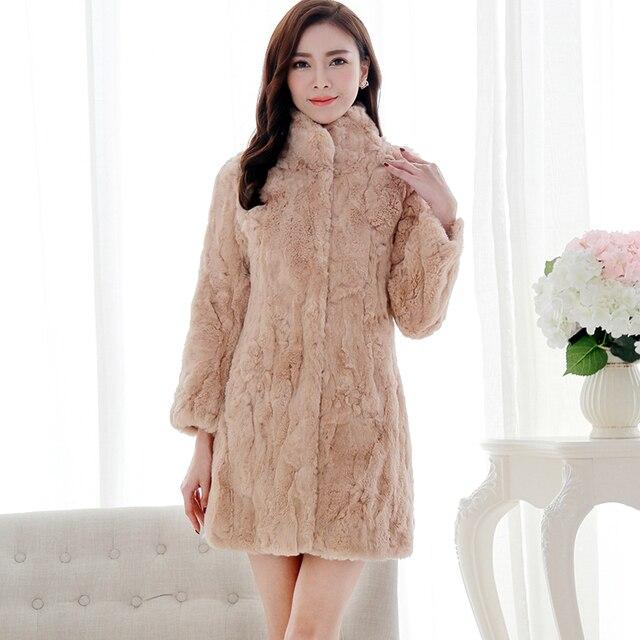 High Quality Natural Rex Rabbit Fur Coats Outerwear Women Stand Collar Thick Warm Winter Fur Jackets Woman Medium Long Fur Coat