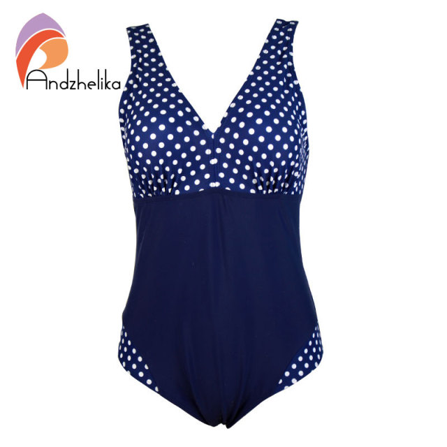 Summer style Women Swimwear One Pieces Swimsuits Blue polka dot push up high waisted bathing suits Plus Size Swimwear 8285