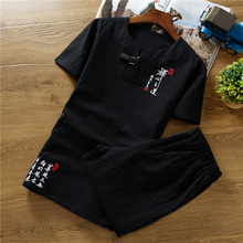 2019 Summer Chinese Style Retro Embroidery Mens Short-sleeved Suit 2 Pieces Sets Large Size Cotton and Linen Fabrics