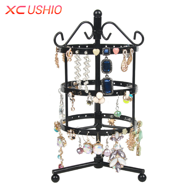 72 128 Holes Rotatable Earring Display Holder Round Square Metal Jewelry Show Rack Detachable