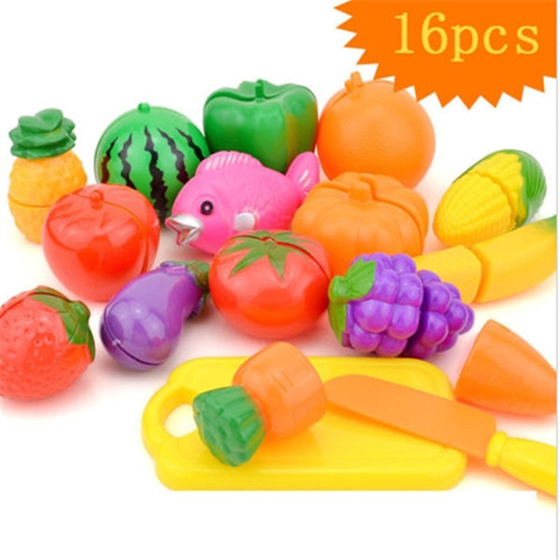 Fine New Safety 16pcs/set Plastic Kitchen Food Fruit Vegetable Cutting Play Sets Educational Toy Kitchen Pretend Play Childrens Toys Kitchen Toys Pretend Play