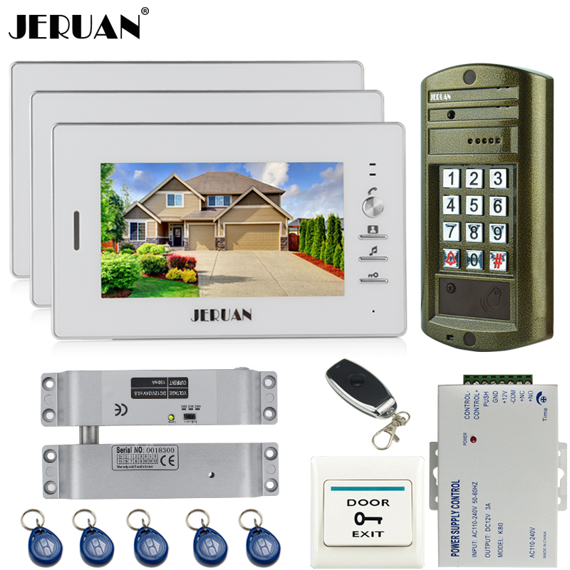JERUAN Wired 7`` Video Door Phone Intercom System kit 3 Monitor + Metal panel Waterproof Access Password keypad HD Mini Camera