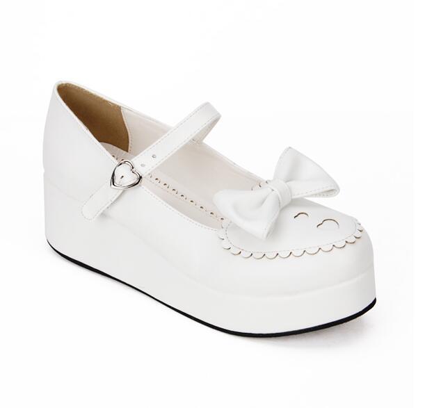 Cosplay Chica Zapatos Impresión Encantador Lolita Mujeres Bombas Tacones Mujer Angelical Corazón Vestido blanco Princesa De 33 Mori Mediados Negro Señora 47 Cuñas prwxnXYwqH