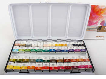MUNGYO MWPH series 12/24/48 Colors Profession Watercolor Paints iron box packing solid pigment Art Drawing Supplies - Category 🛒 Office & School Supplies