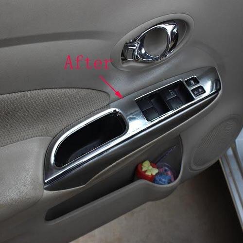 Prix pour Pour Nissan Versa Almera 2014 ABS chrome intérieur poignée de porte accoudoir autocollant de couverture accessoires de voiture 4 pcs livraison gratuite