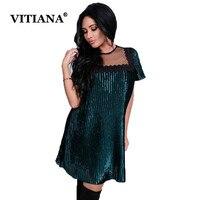 VITIANA Women Casual Velvet Dress Shirt Female 2017 Summer Green Black Mesh Short Sleeve Elegant Sexy
