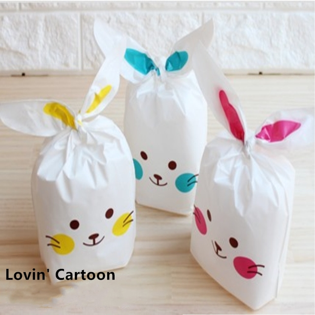 10pcs Lot Rabbit Ear Cookie Packaging Bags Plastic Candy Biscuit Snack Bag Gift