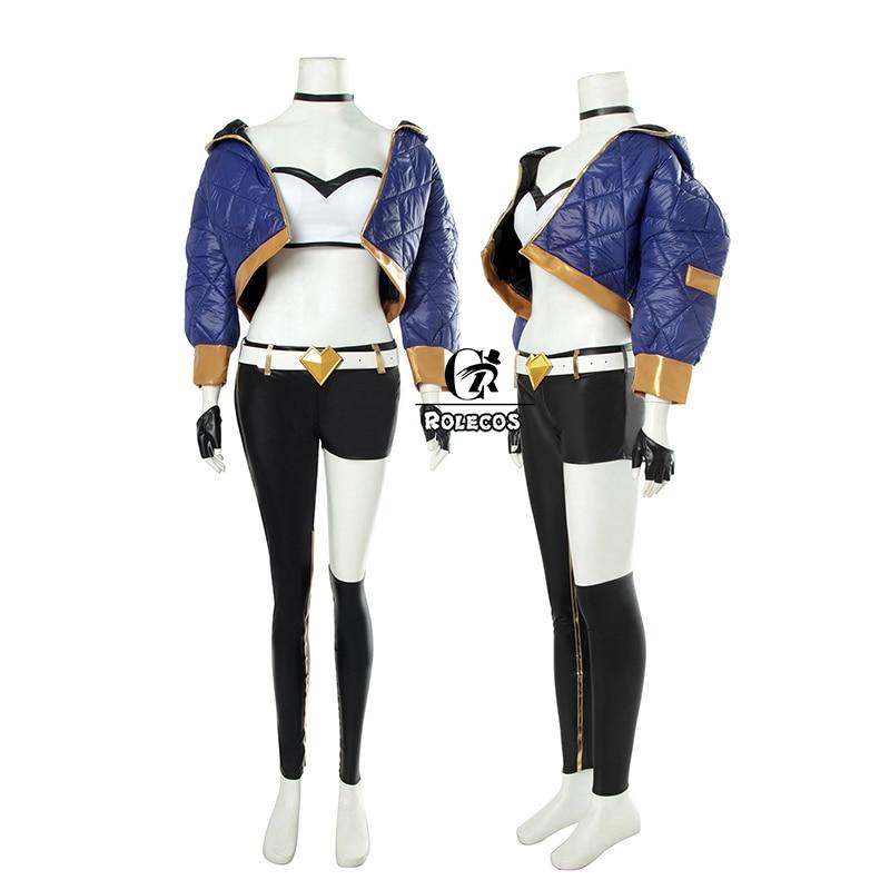 Купить с кэшбэком ROLECOS Game LOL K/DA Akali Cosplay Costume LOL KDA Akali Cosplay Costume Winter Uniform Costume for Women Full Set