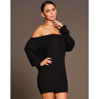 2018 Sexy Dres Women Long Sleeve Off Shoulder Casual Bandage Dress Plus Size Black Bodycon Office