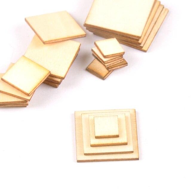 100pcs Wooden Crafts foursquare Pieces Scrapbooking Crafts wood decoration for Home Decoration 10-25mm m2133