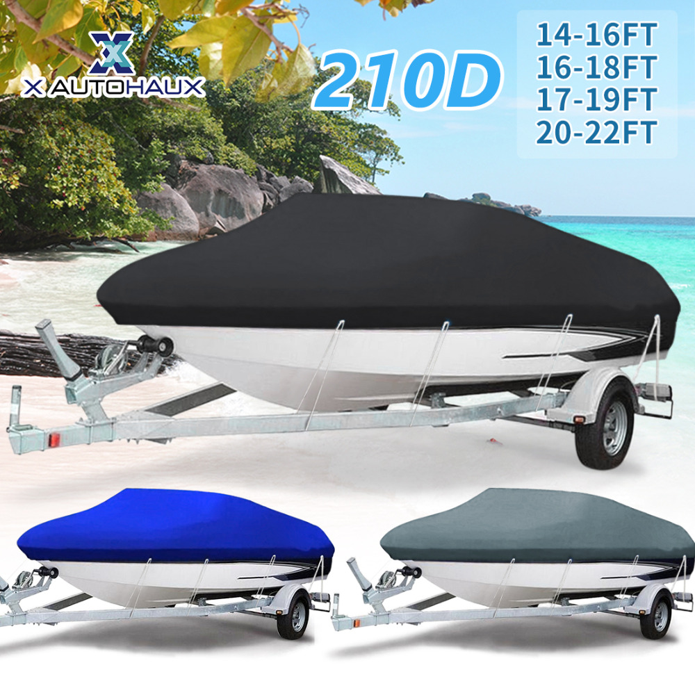 X AUTOHAUX 210D 540/570/700 x 280/300CM Trailerable Boat Cover Waterproof Fishing Ski Bass Speedboat V-shape Black Boat Cover