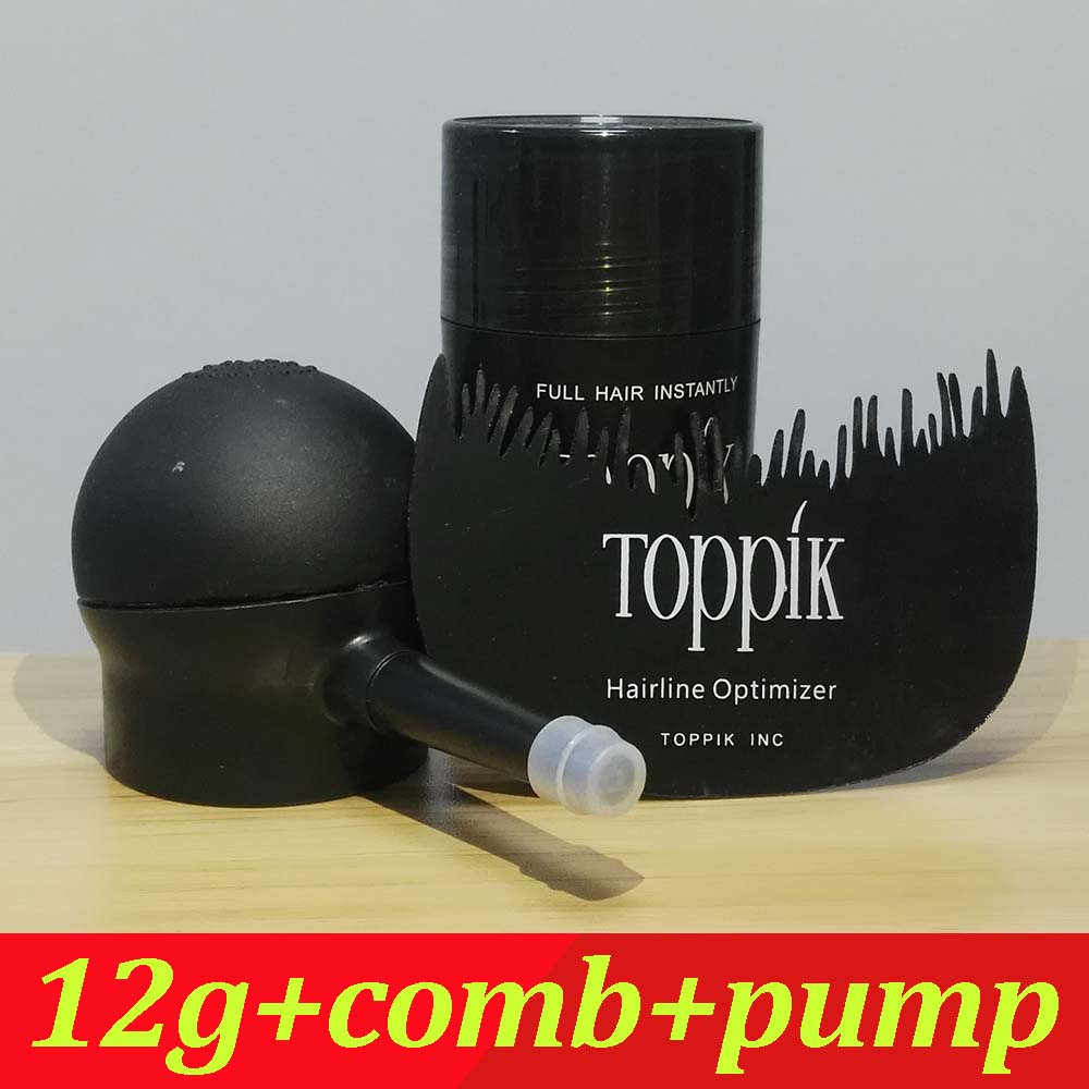 Toppik Hair Building Fibers Starter Set with Spray Applicator, 12g Hair Building Fibers 9 Colors &hairline optimizer comb toppik 27 5g best hair building fibers for hair loss treatment 10pcs lot