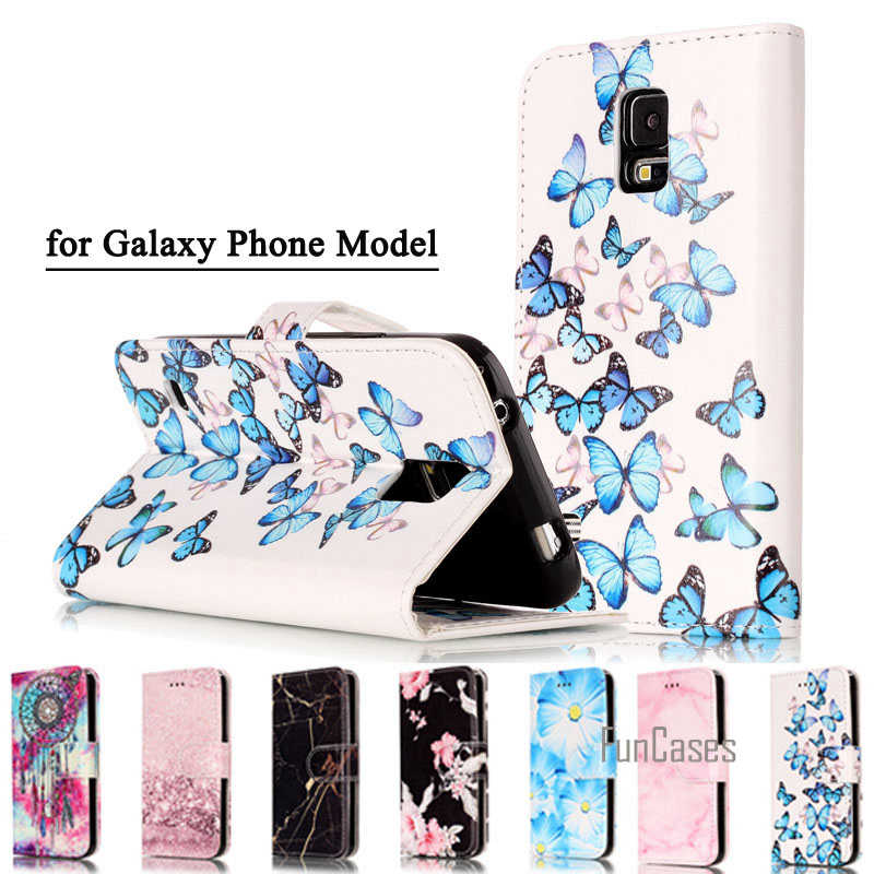 Mode Marmer PU Kulit Telepon Flip Kasus Untuk Samsung Galaxy S5 Neo S6 S7 S8 Tepi Ditambah Back Cover Luxury Dompet Kasus Penutup Coque
