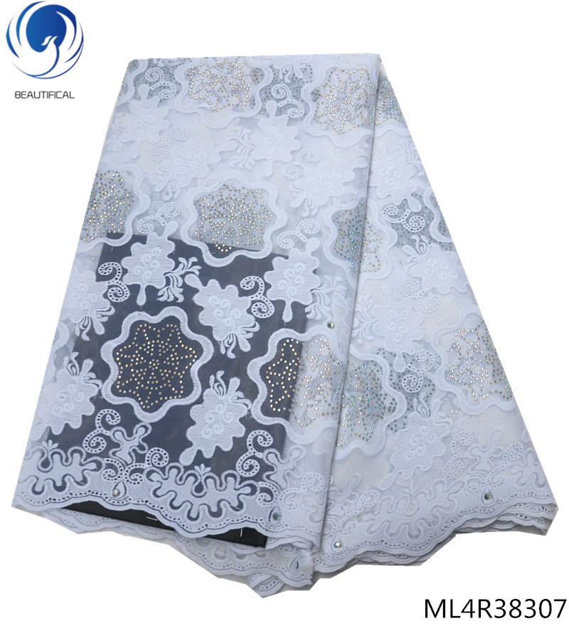 BEAUTIFICAL swiss voile lace fabric 2019 white fabric laces with rhinestones swiss laces fabrics for women 5yards ML4R383