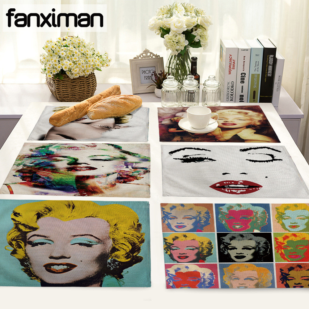 US $1.99 20% OFF High Quality Dining Table Mats Pop Art Marilyn Monroe  Cotton Linen Material Kitchen Home Table Decor Chaplin Placemats-in Mats &  Pads ...