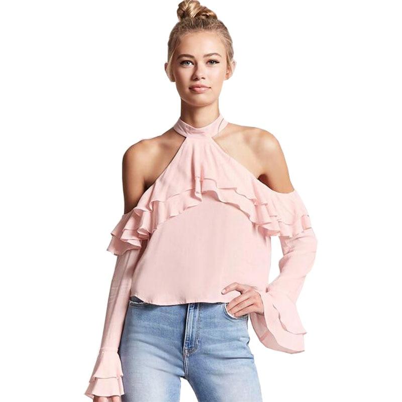Practical Aliexpress 2019 New Blouse Halter Women Long Chiffon Shirt Hollow Out Clothing Long Sleeve Vestidos Blkqq1327 Women's Clothing