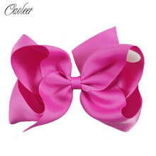 6 Large Hair Bows Girls Boutique Accessories Handmade Solid Ribbon Bow With Clip For Baby Kid