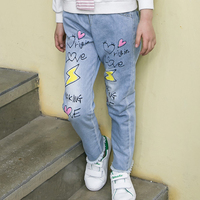6 13 Yrs Fashion Girls Jeans Trousers Cute Printed Kids Denim Pants Causual Children S Trousers