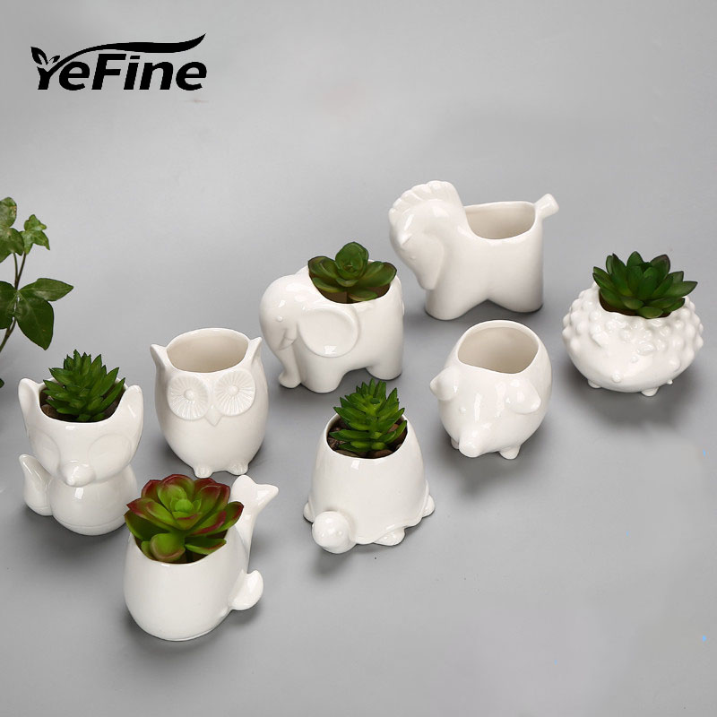 US $23.86 30% OFF YeFine Creative Ceramic Flowerpot Planter Bonsai Garden  Pots Planters Jardin Bonsai Desk Succulent Flower Pot Cute Animal Pots-in  ...