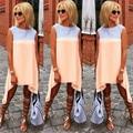 Verão tshirt longo 2016 estilo casual cor contraste irregular ruffles O pescoço sem mangas mulheres top vestiodos plus size