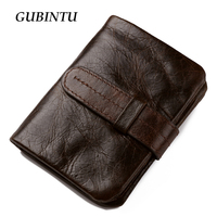 GUBINTU Wallet Vintage Genuine Leather Men Short Bifold Wallets Card Holder Purse Coin Pocket Male Zipper
