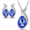 Hot Sale AAA Austria Crystal Necklace/Earrings Jewelry Sets Korea Water Drop Pendant Necklace Ornaments Mermaid