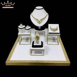 Hohe Qualität Edelstahl Schmuck Display Vitrinen Halskette Ring Halter Schmuck Display Rack ständer Schwarz Samt 52*38*26 cm