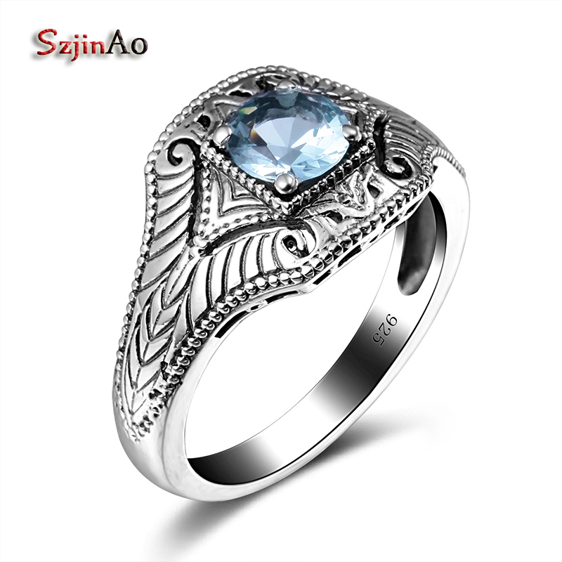 Szjinao Brand Ring Genuine 925 Sterling Silver Small Blue Aquamarine Punk Style Vintage Luxury Ring For Women Men NewSzjinao Brand Ring Genuine 925 Sterling Silver Small Blue Aquamarine Punk Style Vintage Luxury Ring For Women Men New