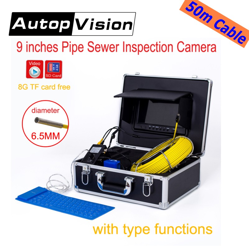 WP91 50M Cable Video Snake Endoscope Borescope underwater mini Camera 9 LCD Screen Drain Sewer Pipe Inspection Camera System