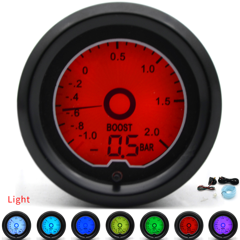2 52mm BAR Turbo Boost Gauge 7 Color Racing Gauge LCD Digital Display Car Meter Multiple Colors