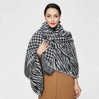 Высокое качество зима шарф большой клетчатый шарф дизайнер акриловая основных шали женщин Зебра полосой Leopard