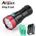 Фонарик Anjoet  охотничий  15000 люмен  King 9T6  LED  9 x XM-L T6  для кемпинга  работы  лампы + аккумулятор 4X 18650 + зарядное устройство