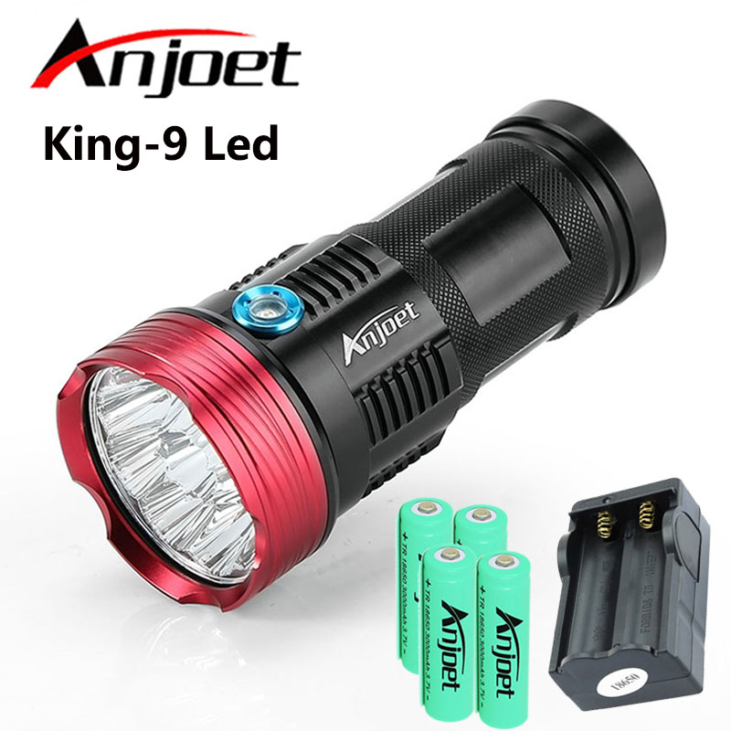 Anjoet Hunting Flashlight <font><b>15000</b></font> <font><b>lumens</b></font> King 9T6 <font><b>LED</b></font> 9 x XM-L T6 Torch lantern For Camping Work Lamp+4X 18650 Battery+Charger image