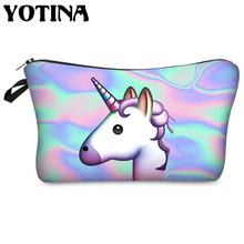 Yotina Women makeup bag Unicorn 3D Printed  cosmetic organizer for travel toiletry beauty case