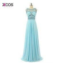 Elegant Crystal Beaded Chiffon Prom Dresses 2018 Light Sky Blue Pleats Formal  Evening Party Gowns Plus Size Custom Made 150eeb1fd7fb