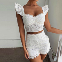 Causey  Hollow Out Sexy Two Piece Set Puff Sleeve Crop Top And Shorts 2019 2 Women Summer Outfits