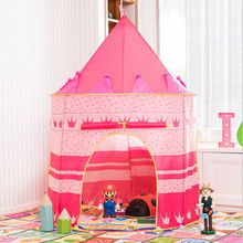 2 Colors Play Tent Portable Foldable Tipi Prince Folding Tent Children Boy Castle Cubby Play House Kids Gifts Outdoor Toy Tents new arrival 2 colors girl pop up outdoor indoor cottage children tent house children play game house mosquito best gifts toy