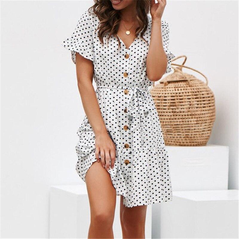 New Summer Chiffon Shirt Dresses Sashes Short Sleeve Polka Dots Printed Black Navy White Ruffles Mini Dress Women Beach Vestidos in Dresses from Women 39 s Clothing