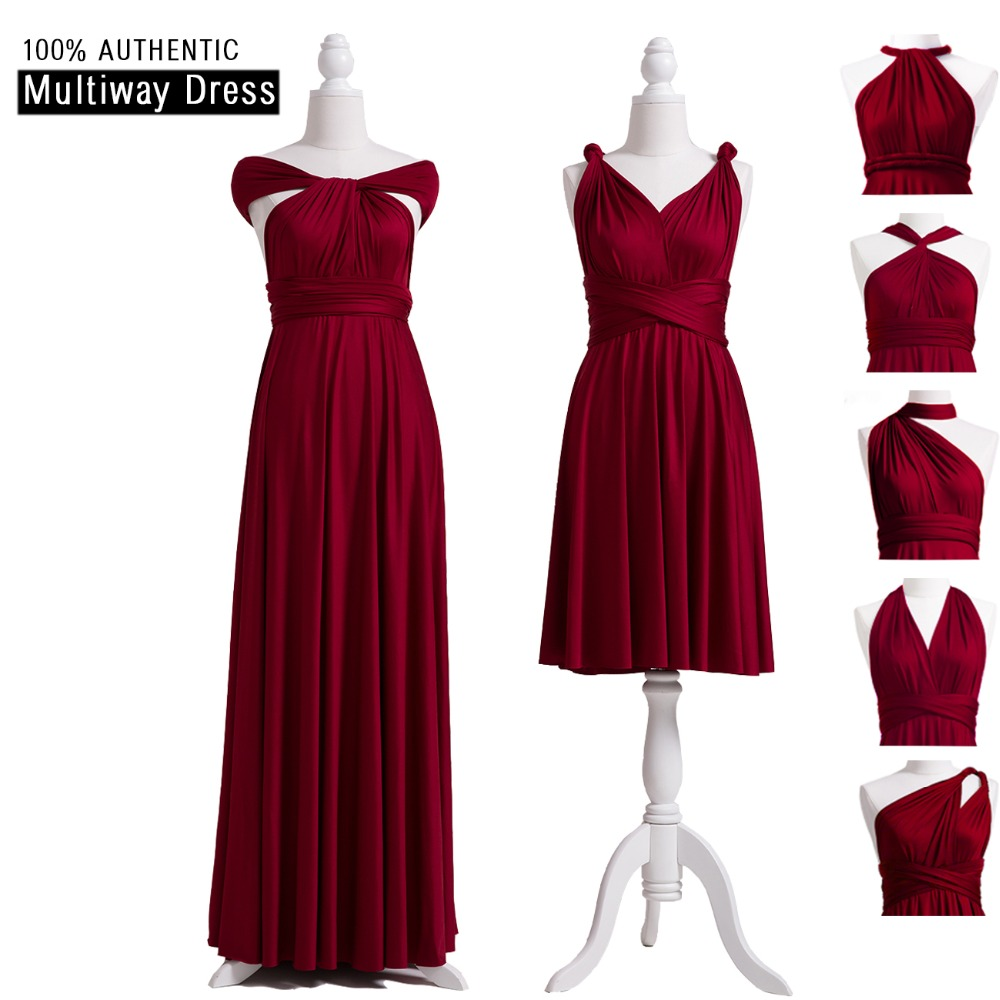 Burgundy   Bridesmaid     Dresses   Long Infinity   Dress   Convertible   Bridesmaid     Dress   Multiway Wrap Wedding Party   Dress