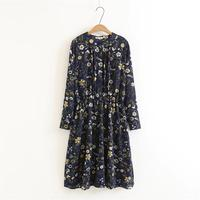 Plus Size Mandarin Collar Dark Blue Women Dress 2018 Slim Waist Floral Print Ladies Spring Long