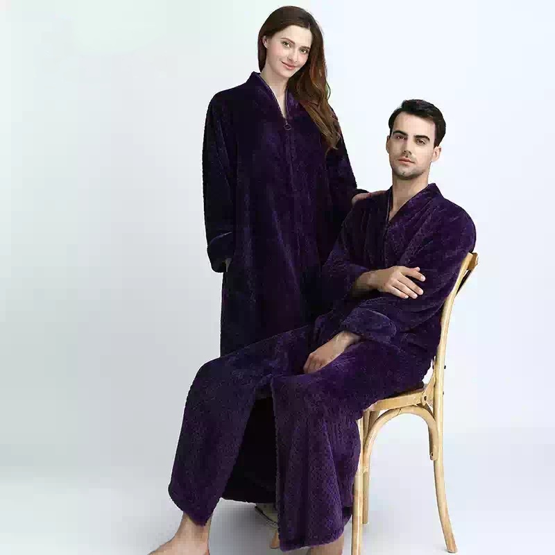 couples long flannel robe women gown set men oversize loose home clothing winter bathing robe thicker warm with zipper