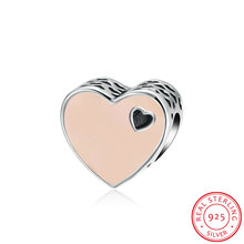 GOMAYA 925 Sterling Silver Charm Enamel Series Lovely Heart Shaped Accessories Pink Jewelry For Sister Friendship Bracelets
