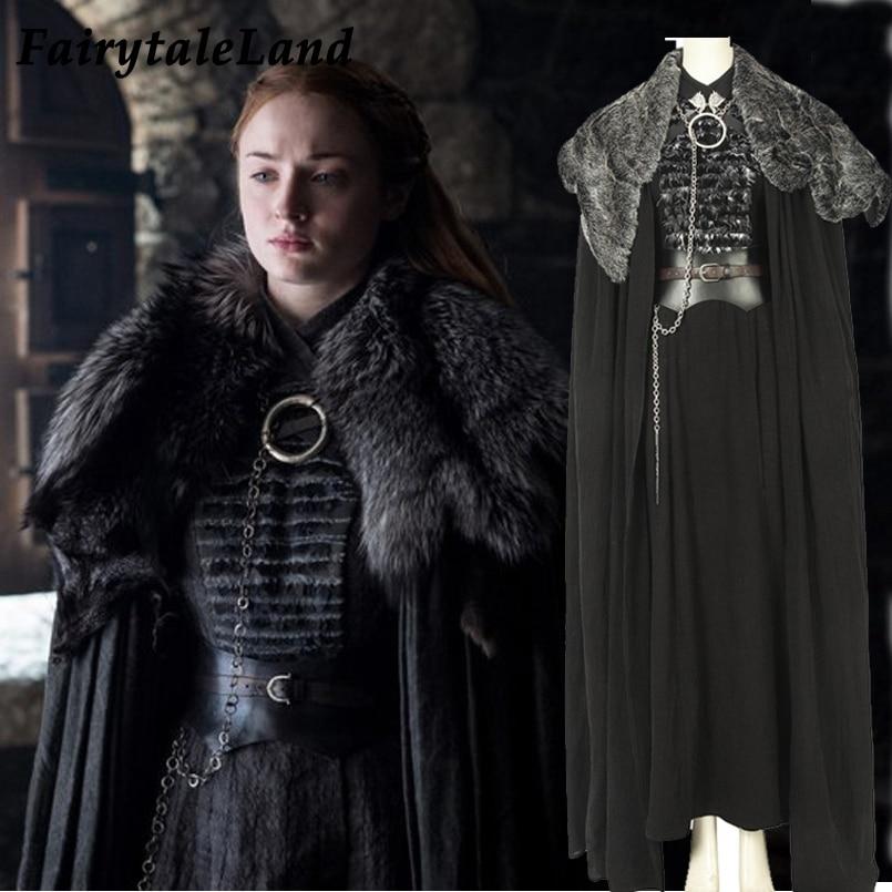 Game of Thrones Season 8 Cosplay Costume Sansa Stark cosplay Dress Cloak Outfit Fancy suit Custom