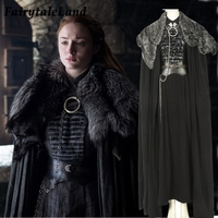 Game of Thrones Season 8 Cosplay Costume Sansa Stark cosplay Dress Cloak Outfit Fancy suit Custom made Halloween