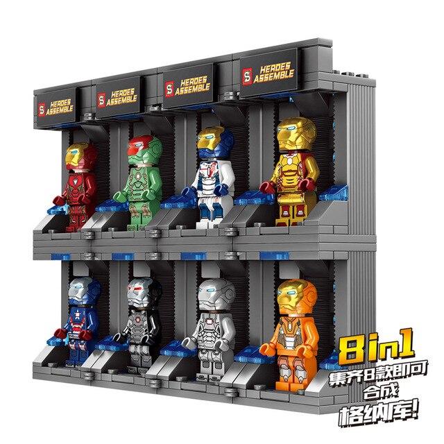 מארוול סופר גיבורי סדרת איש ברזל Gnaku פעולה דמויות DIY חינוך בניין צעצוע לילדים חג המולד מתנות