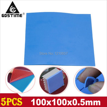 5 Pieces Lot Blue 100 x 100 x 0.5mm Silicon Heatsink Cooling Conductive GPU CPU Thermal Pad image